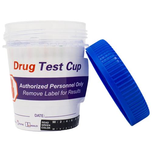 Generic drug test cup cap leaning against it